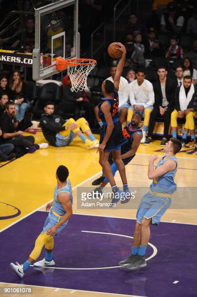 Terrance Ferguson of the Oklahoma City Thunder drives to the basket against the Los Angeles Lakers on January 3 2018 at STAPLES Center in Los Angeles...
