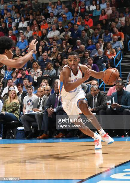 Terrance Ferguson of the Oklahoma City Thunder drives to the basket against the Brooklyn Nets on January 23 2018 at Chesapeake Energy Arena in...