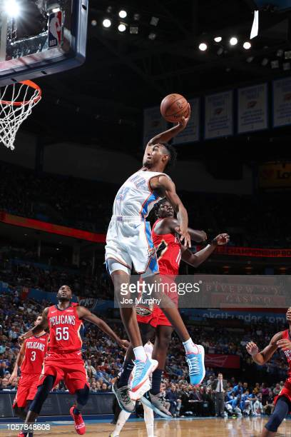 Terrance Ferguson of the Oklahoma City Thunder dunks the ball against the New Orleans Pelicans on November 5 2018 at Chesapeake Energy Arena in...