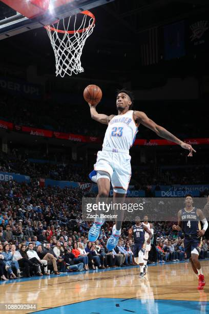 Terrance Ferguson of the Oklahoma City Thunder dunks the ball against the New Orleans Pelicans on January 24 2019 at Chesapeake Energy Arena in...