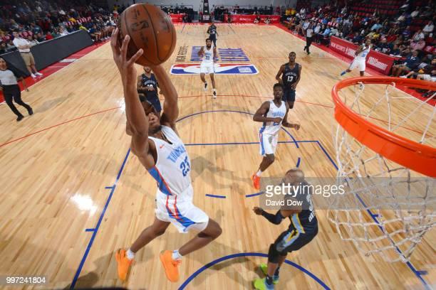 Terrance Ferguson of the Oklahoma City Thunder dunks the ball against the Memphis Grizzlies during the 2018 Las Vegas Summer League on July 12 2018...