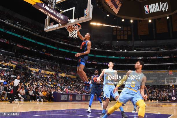 Terrance Ferguson of the Oklahoma City Thunder dunks the ball during the game against the Los Angeles Lakers on January 3 2018 at STAPLES Center in...