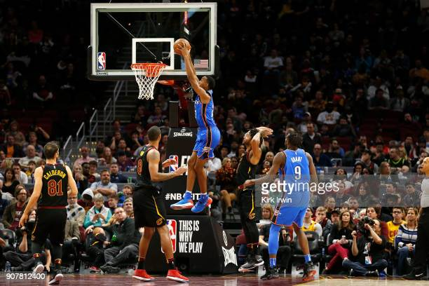 Terrance Ferguson of the Oklahoma City Thunder dunks the ball during the fourth quarter of the game against the Cleveland Cavaliers at Quicken Loans...
