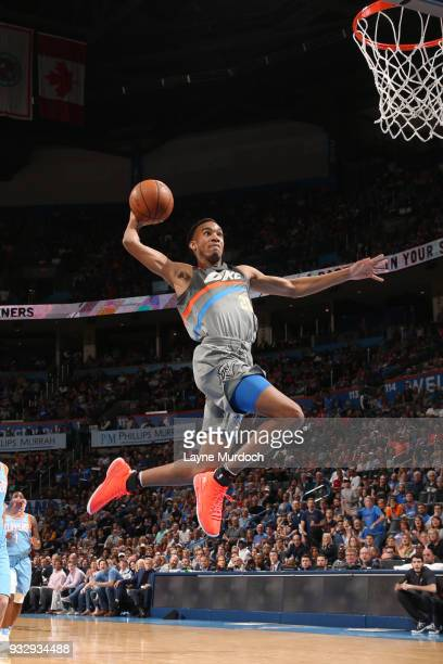 Terrance Ferguson of the Oklahoma City Thunder dunks the ball during the game LA Clippers on March 16 2018 at Chesapeake Energy Arena in Oklahoma...