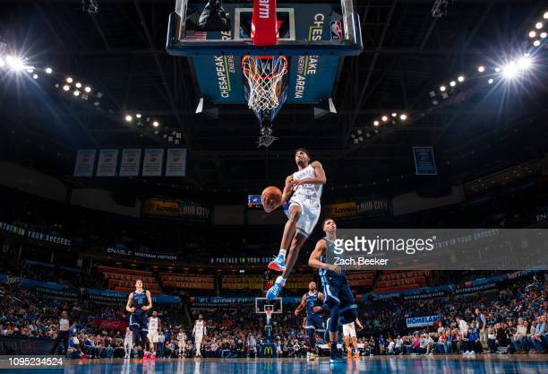 Terrance Ferguson of the Oklahoma City Thunder goes to the basket against the Memphis Grizzlies on February 7 2019 at Chesapeake Energy Arena in...