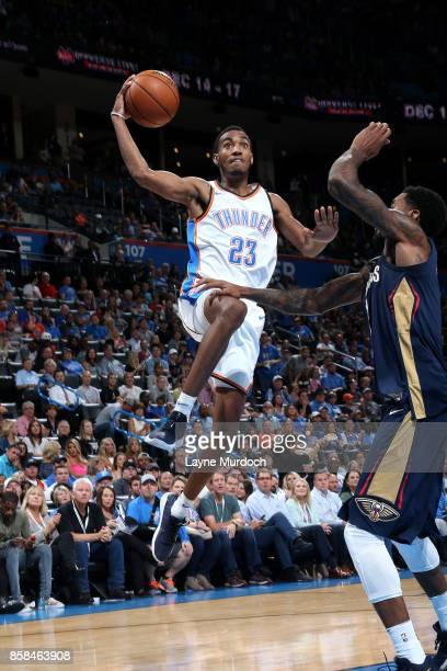 Terrance Ferguson of the Oklahoma City Thunder goes to the basket during the game against the New Orleans Pelicans during a preseason game on October...