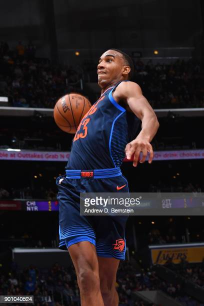 Terrance Ferguson of the Oklahoma City Thunder goes to the basket against the Los Angeles Lakers on January 3 2018 at STAPLES Center in Los Angeles...
