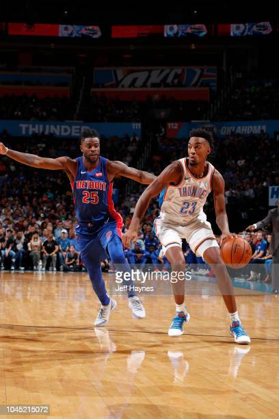 Terrance Ferguson of the Oklahoma City Thunder handles the ball against the Detroit Pistons during a preseason game on October 3 2018 at the...