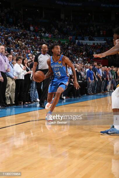 Terrance Ferguson of the Oklahoma City Thunder handles the ball during the game against the Indiana Pacers on March 27 2019 at the Chesapeake Energy...