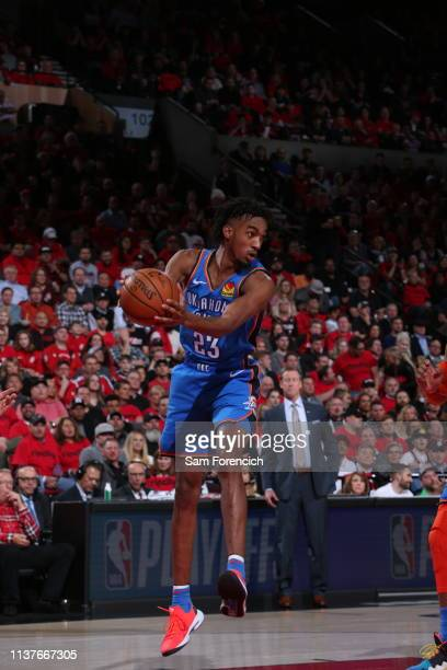 Terrance Ferguson of the Oklahoma City Thunder handles the ball against the Portland Trail Blazers during Game Two of Round One of the 2019 NBA...