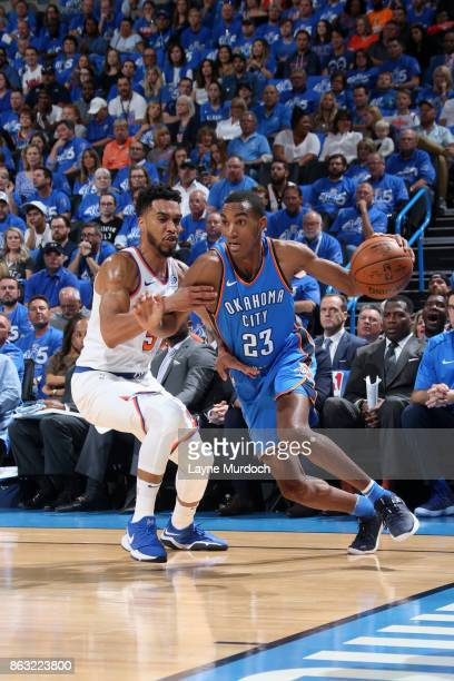 Terrance Ferguson of the Oklahoma City Thunder handles the ball against the New York Knicks on October 19 2017 at Chesapeake Energy Arena in Oklahoma...