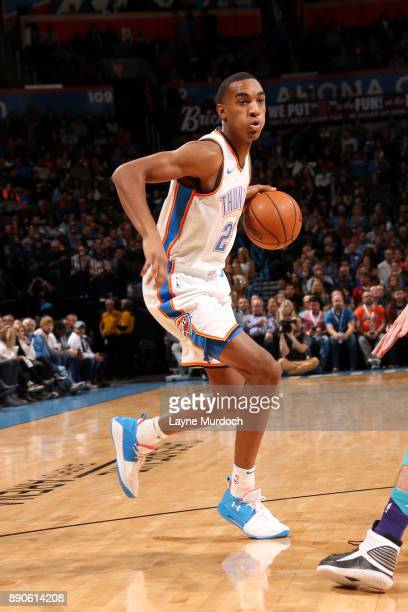 Terrance Ferguson of the Oklahoma City Thunder handles the ball during the game against the Charlotte Hornets on December 11 2017 at Chesapeake...