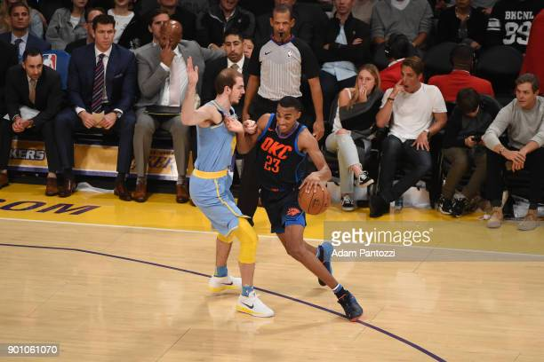 Terrance Ferguson of the Oklahoma City Thunder handles the ball against the Los Angeles Lakers on January 3 2018 at STAPLES Center in Los Angeles...