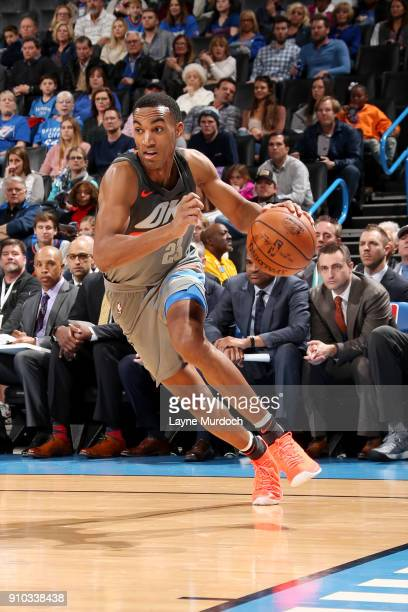 Terrance Ferguson of the Oklahoma City Thunder handles the ball during the game against the Washington Wizards on January 25 2018 at Chesapeake...