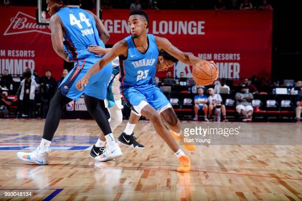 Terrance Ferguson of the Oklahoma City Thunder handles the ball against the Charlotte Hornets during the 2018 Las Vegas Summer League on July 6 2018...