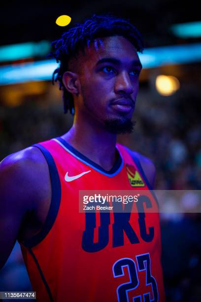 Terrance Ferguson of the Oklahoma City Thunder looks on before the game against the Minnesota Timberwolves on April 7 2019 at Target Center in...