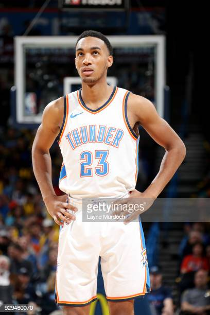 Terrance Ferguson of the Oklahoma City Thunder looks on during the game Phoenix Suns on March 8 2018 at Chesapeake Energy Arena in Oklahoma City...