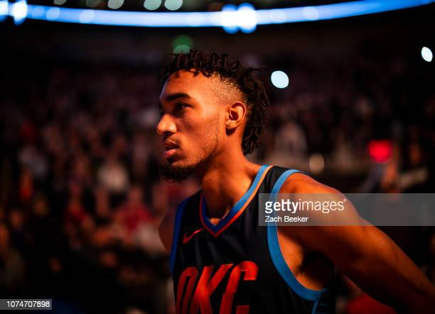 Terrance Ferguson of the Oklahoma City Thunder looks on prior to the game against the Utah Jazz on December 22 2018 at vivintSmartHome Arena in Salt...