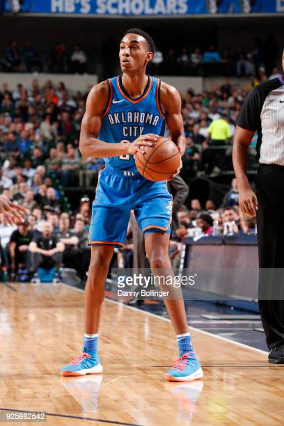 Terrance Ferguson of the Oklahoma City Thunder looks to pass the ball during the game against the Dallas Mavericks on February 28 2018 at the...