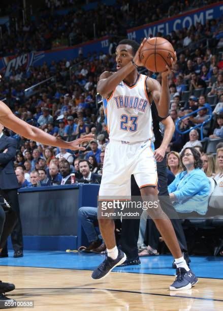 Terrance Ferguson of the Oklahoma City Thunder passes the ball against the Melbourne United during the preseason game on October 8 2017 at Chesapeake...