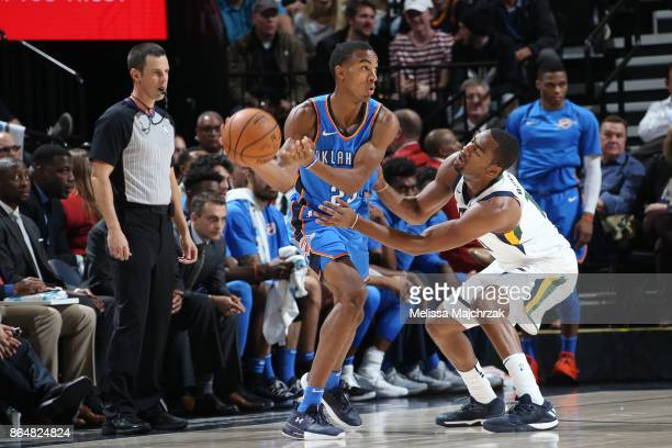 Terrance Ferguson of the Oklahoma City Thunder passes the ball against the Utah Jazz during the game on October 21 2017 at vivintSmartHome Arena in...