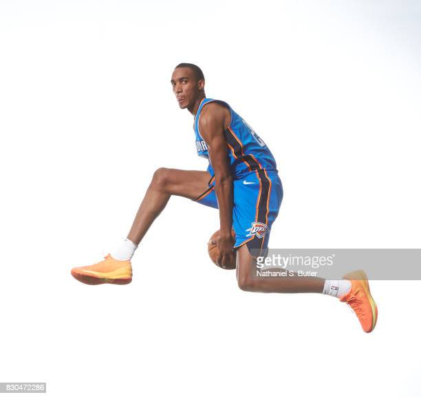 Terrance Ferguson of the Oklahoma City Thunder poses for a photo during the 2017 NBA Rookie Shoot on August 11 2017 at the Madison Square Garden...