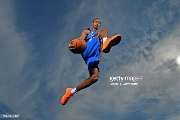 Terrance Ferguson of the Oklahoma City Thunder poses for a portrait during the 2017 NBA rookie photo shoot on August 11 2017 at the Madison Square...