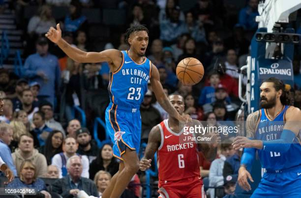 Terrance Ferguson of the Oklahoma City Thunder reacts after he lost control of the ball during the second half of a NBA game against the Houston...