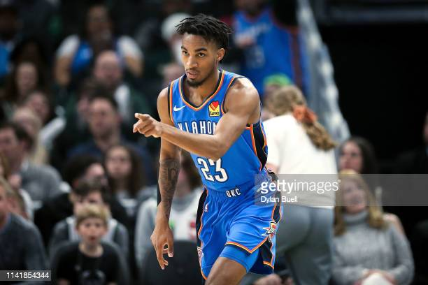 Terrance Ferguson of the Oklahoma City Thunder reacts in the first quarter against the Milwaukee Bucks at the Fiserv Forum on April 10 2019 in...