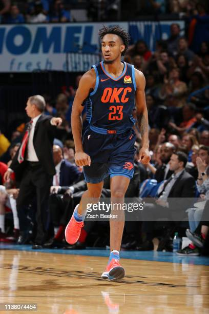 Terrance Ferguson of the Oklahoma City Thunder seen on court during the game against the Houston Rockets on April 9 2019 at the Chesapeake Energy...