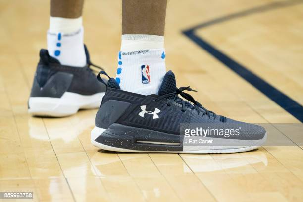 Terrance Ferguson of the Oklahoma City Thunder shoes are seen during the first half of a NBA preseason game at the Chesapeake Energy Arena on October...