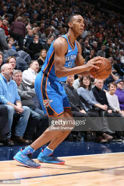 Terrance Ferguson of the Oklahoma City Thunder shoots the ball during the game against the Minnesota Timberwolves on January 10 2018 at Target Center...