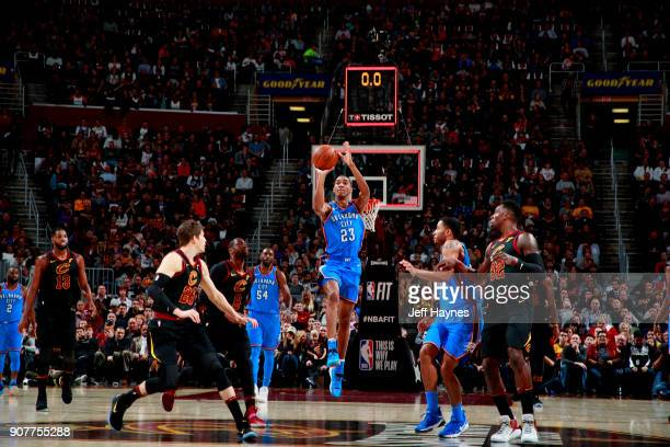 Terrance Ferguson of the Oklahoma City Thunder shoots the ball during the game against the Cleveland Cavaliers on January 20 2018 at Quicken Loans...