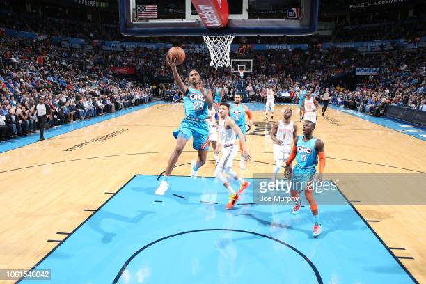 Terrance Ferguson of the Oklahoma City Thunder shoots the ball against the New York Knicks on November 14 2018 at Chesapeake Energy Arena in Oklahoma...