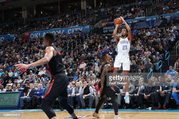 Terrance Ferguson of the Oklahoma City Thunder shoots the ball against the Portland Trail Blazers on January 22 2019 at Chesapeake Energy Arena in...