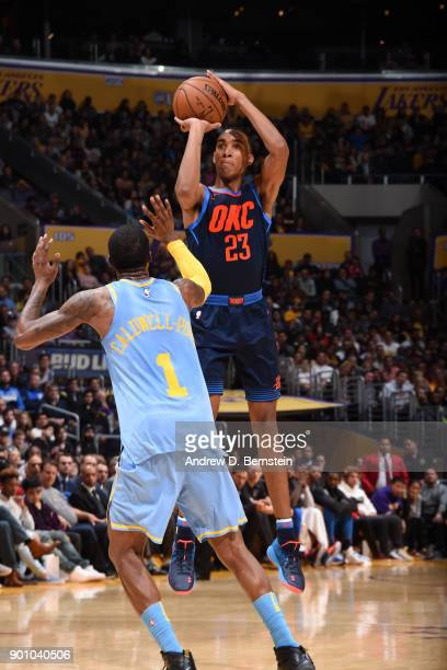 Terrance Ferguson of the Oklahoma City Thunder shoots the ball against the Los Angeles Lakers on January 3 2018 at STAPLES Center in Los Angeles...