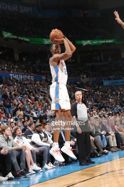 Terrance Ferguson of the Oklahoma City Thunder shoots the ball against the Brooklyn Nets on January 23 2018 at Chesapeake Energy Arena in Oklahoma...