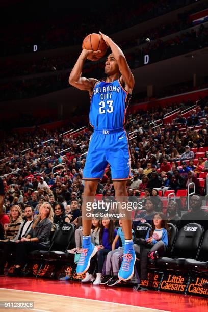 Terrance Ferguson of the Oklahoma City Thunder shoots the ball against the Detroit Pistons on January 27 2018 at Little Caesars Arena in Detroit...