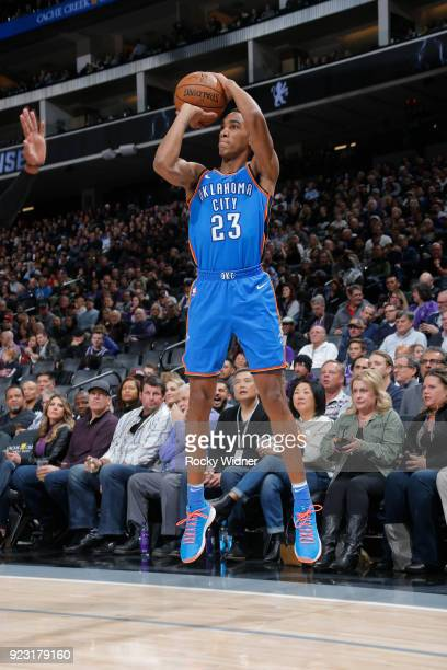 Terrance Ferguson of the Oklahoma City Thunder shoots the ball against the Sacramento Kings on February 22 2018 at Golden 1 Center in Sacramento...