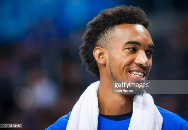 Terrance Ferguson of the Oklahoma City Thunder smiles during an open practice on September 30 2018 at Chesepeake Energy Arena in Oklahoma City...