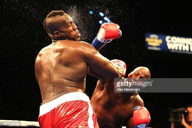 Terrance Marbra lands a right hand to the head of Ernest Zeus Mazgck during their heavyweight boxing match at the Hard Rock Hotel on September 5 2015...