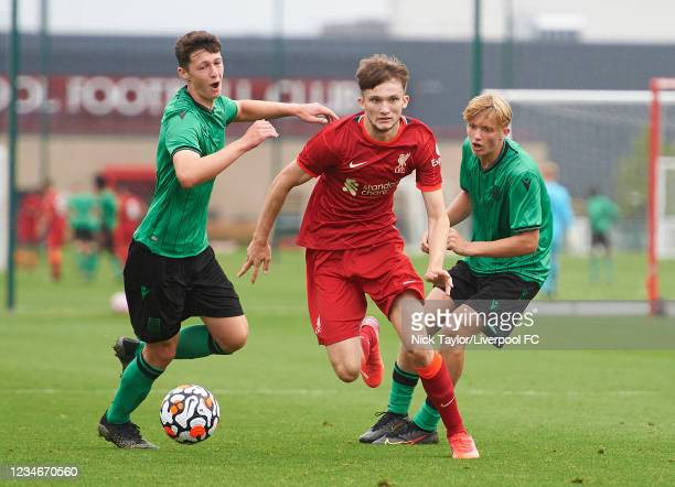 Terrance Miles of Liverpool and Jack Griffiths of Stoke City in action during the U18 Premier League game at AXA Training Centre on August 14, 2021...