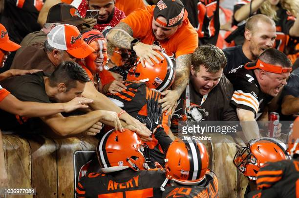 Terrance Mitchell of the Cleveland Browns celebrates his interception with fans during the fourth quarter against the New York Jets at FirstEnergy...