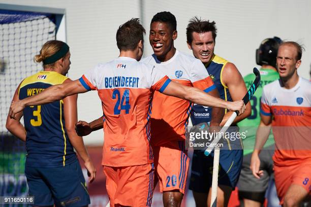 Terrance Pieters of Holland celebrates a goal during game one of the International Test Match series between the Australian Kookaburras and the...