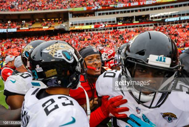Terrance Smith linebacker with the Kansas City Chiefs pushed Telvin Smith linebacker with the Jacksonville Jaguars following the Chiefs' 3014 victory...