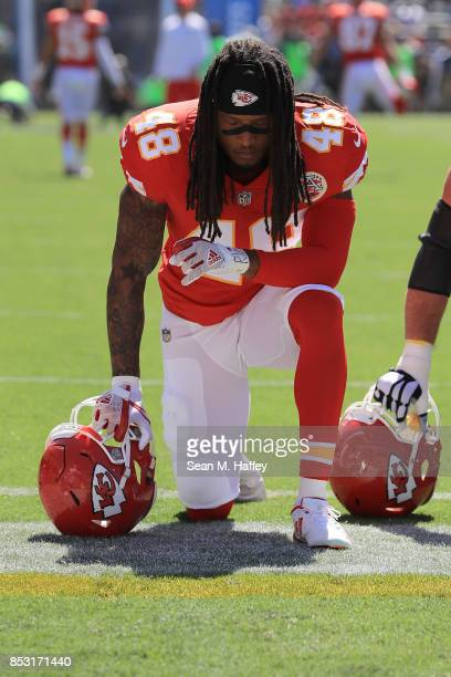 Terrance Smith of the Kansas City Chiefs is seen taking a knee before the game against the Los Angeles Chargers at the StubHub Center on September...