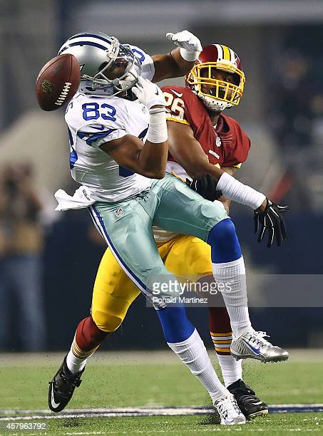 Terrance Williams of the Dallas Cowboys is unable to make the catch as Bashaud Breeland of the Washington Redskins defends during the first half at...