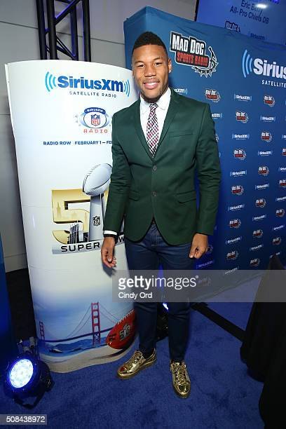Terrance Williams of the Dallas Cowboys visits the SiriusXM set at Super Bowl 50 Radio Row at the Moscone Center on February 4 2016 in San Francisco...