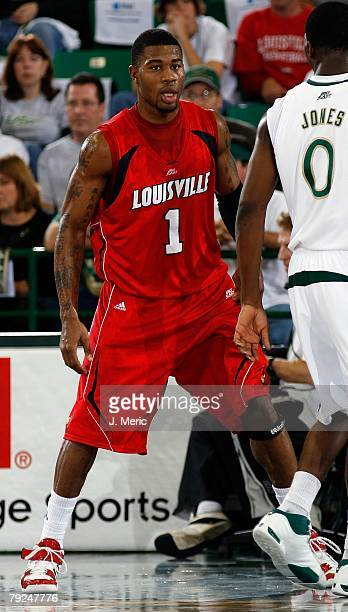 Terrance Williams of the Louisville Cardinals goes on defense against the South Florida Bulls during the game on January 23, 2008 at the Sundome in...
