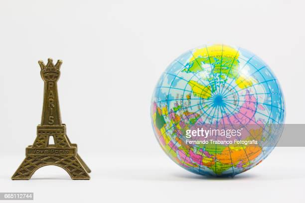 Terraqueo balloon Globe and Eiffel tower, Paris (France)